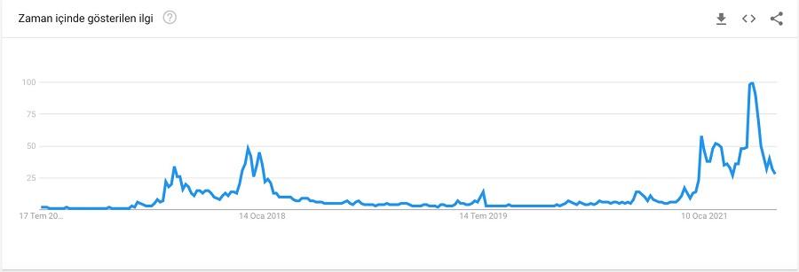 bkz: google trends verilerine göre Ethereum'un 5 senelik arama oranları